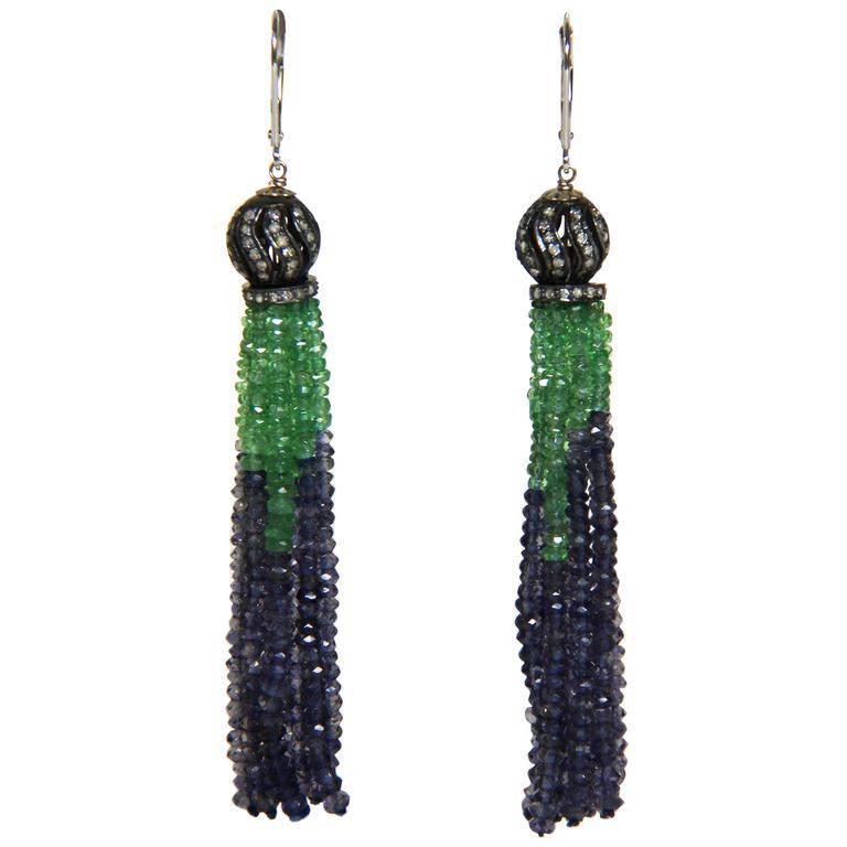 Marina J Emerald Iolite Diamond White Gold Tassel Earrings