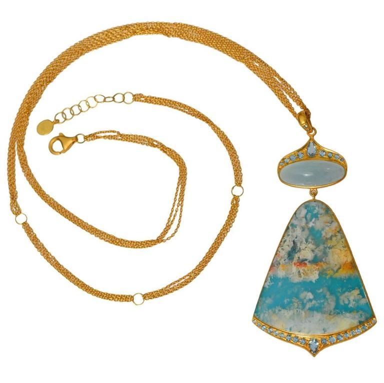 Lauren Harper Sea Agate Aquamarine Diamond Gold Pendant Statement Necklace For Sale