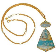 Lauren Harper Sea Agate Aquamarine Diamond Gold Pendant Statement Necklace