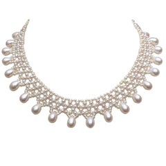 Woven White Pearl Necklace with Pear-Shaped Pearl Drops and 14 k Gold Clasp