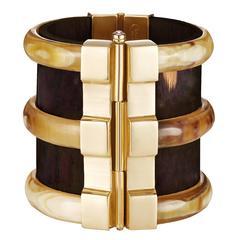 Fouche Bespoke Diana Vreeland Horn Emerald Wood Cuff Bracelet