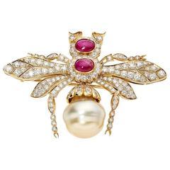 Pearl Ruby Diamond Gold Queen Bee Brooch