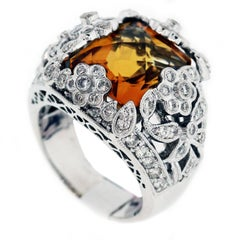 Citrine Diamond Gold Flower Ring