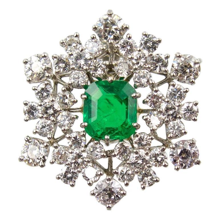Gem Colombian Emerald Diamond Snowflake Necklace