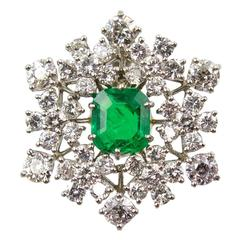 Gem Colombian Emerald Diamond Snowflake Necklace