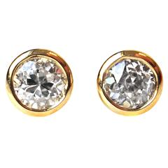 Old European Cut 0.80 Carat Yellow Gold Stud Earrings