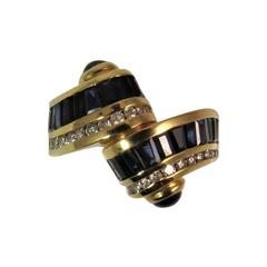 Charles Krypell Sapphire Diamond Yellow Gold Ring