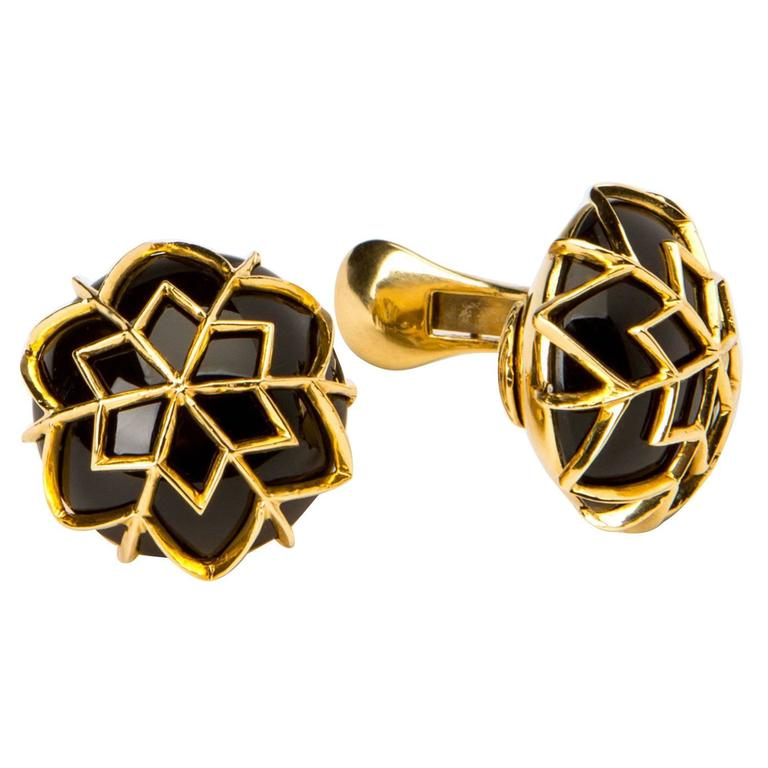 David Webb Onyx Gold Dome Earrings