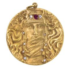 Beautiful Antique Art Nouveau Maiden Diamond Ruby Gold Pendant
