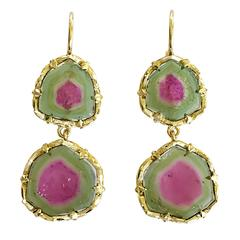 Dalben Watermelon Tourmaline Engraved Gold Dangle Earrings