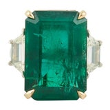 GIA Certified 18.83 Green Emerald and Diamond Ring