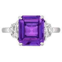 4.10 Carat Purple Sapphire Diamond Platinum Ring
