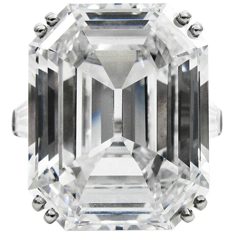 Harry Winston Magnificent 22.91 Carat GIA Cert. D Color Emerald Cut Diamond Ring For Sale