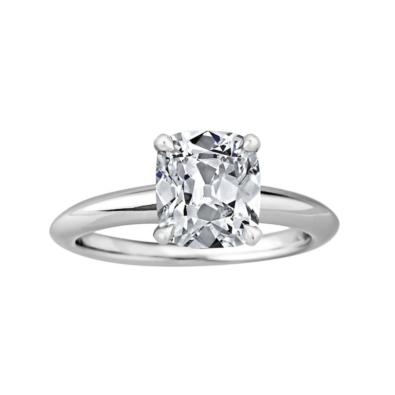 GIA Certified Cushion Cut 2.06 Carat Diamond Platinum Engagement Ring For Sale