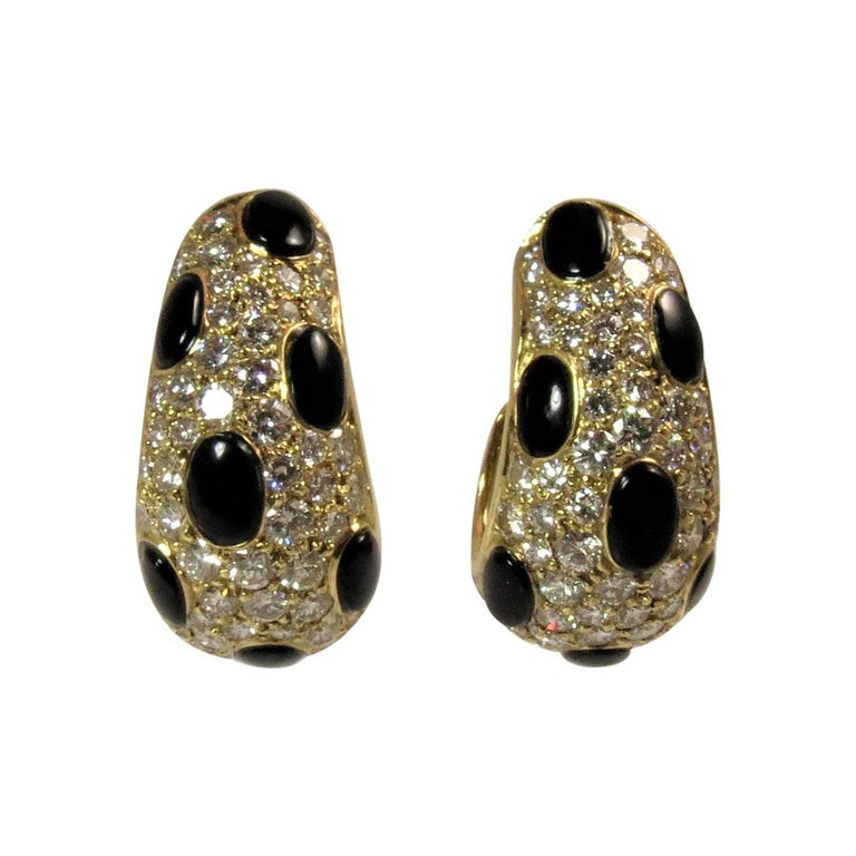 Black Onyx Diamond Yellow Gold Ear Clips