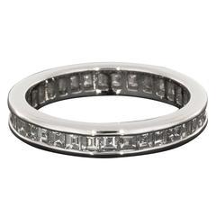 Asscher Cut Diamond Platinum Eternity Band Wedding Ring