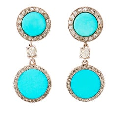 Art Deco Turquoise Diamond Earrings