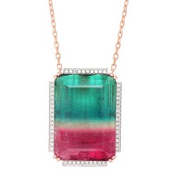 Frederic Sage 128.63 Carat Watermelon Tourmaline Diamond Necklace Pendant