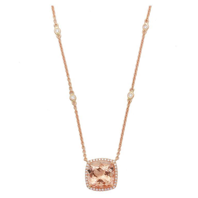 Frederic Sage 5.45 Carat Morganite Diamond Pendant Necklace