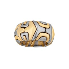 Bulgari Alveare Vintage Gold and Stainless Steel Ring