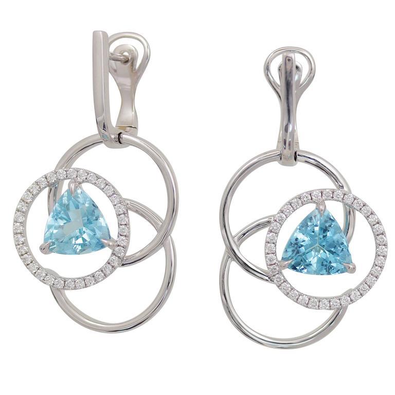 Frederic Sage Trillion Aquamarine Diamond Earrings