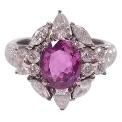 2.02 Carat No Heat Ceylon Pink Sapphire and White Diamond Ring