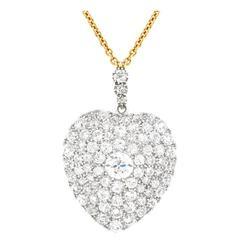 Stunning Antique Diamond Gold Heart Pendant
