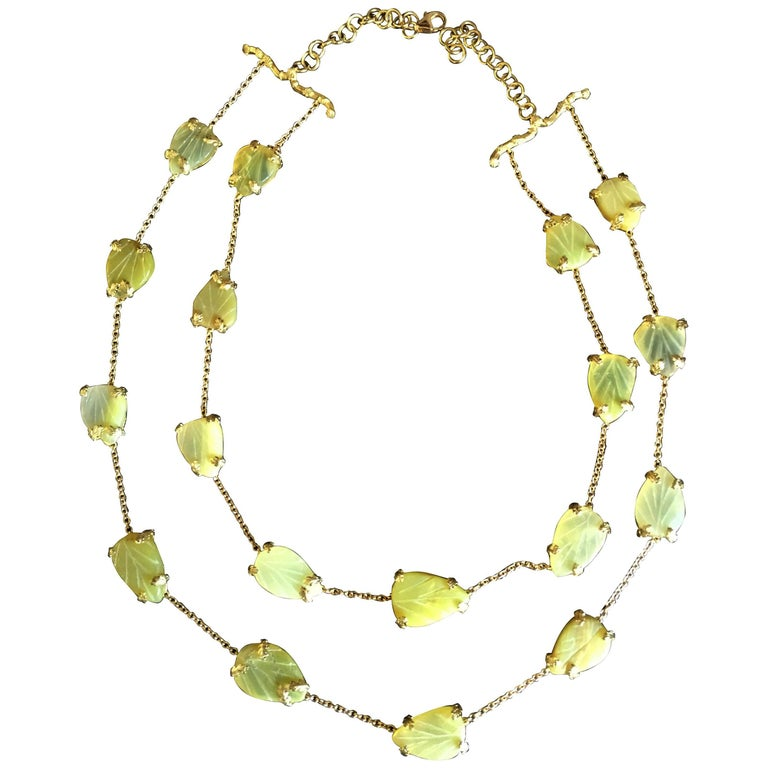 Opal Gold Oriental Leaf Necklace For Sale