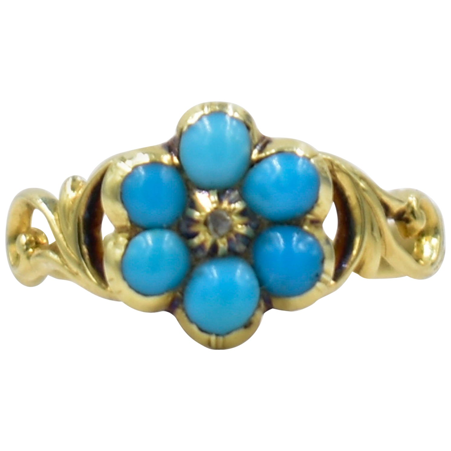 Antique Turquoise and Gold Forget Me Not Ring