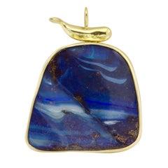 Australian Boulder Opal and 18 Karat Yellow Gold Pendant