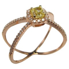 Fancy Yellow Diamond with Diamond Micro Pave Crisscross Rose Gold Ring