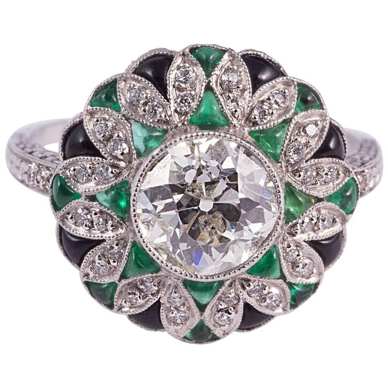 Fabulous Diamond Emerald Onyx Ring 1