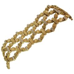 Montreaux Wide Diamond Yellow Gold Platinum Bracelet