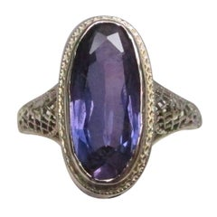 White Gold Filigree Amethyst Ring