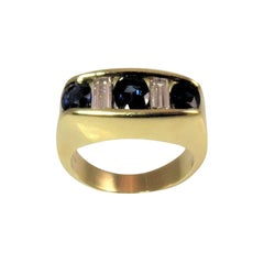 Kurt Wayne Faceted Blue Sapphires Diamonds gold Ring