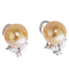 Tiffany & Co. Platinum Cultured Golden South Sea Pearl and Diamond Emma Earrings