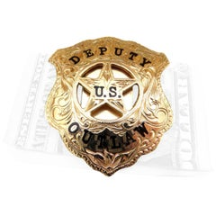 Phenomenal Custom-Made Gold Deputy U.S. Outlaw Badge Enamel Money Clip