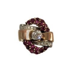 1940s Rose Gold Diamond Ruby Ring