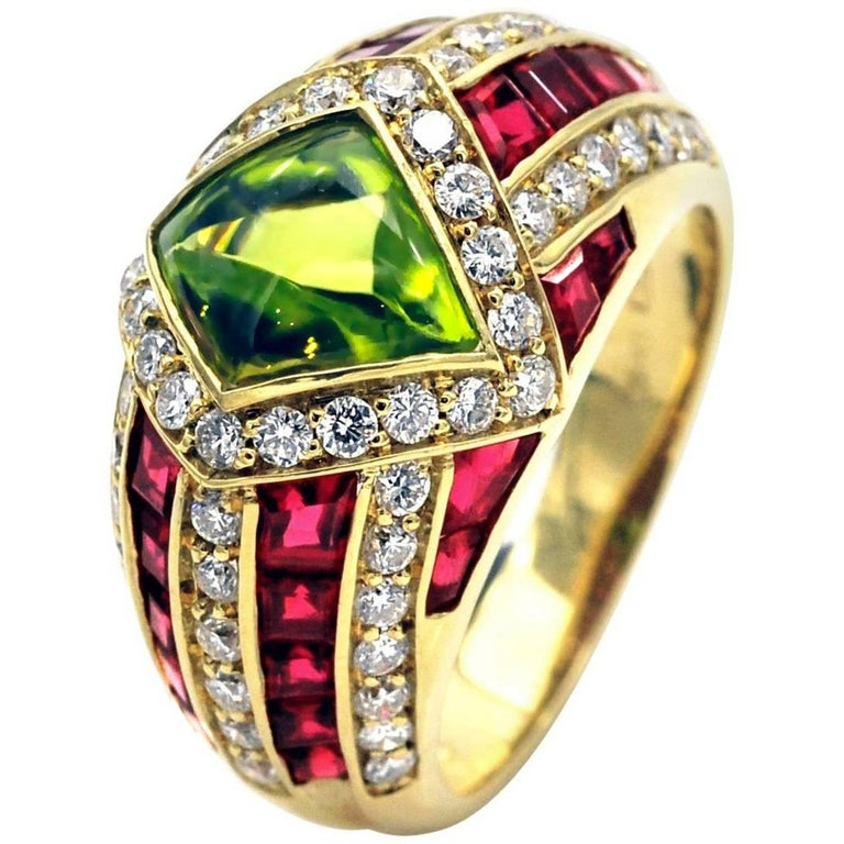 Peridot Ruby and Diamond Gold Ring