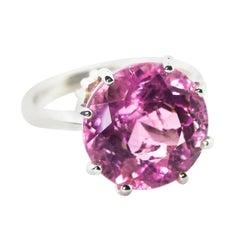 14 Carat Round Pink Kunzite Sterling Silver Ring