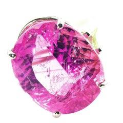 21 Carat Pink Kunzite Sterling Silver Ring