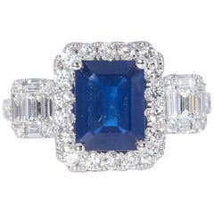 Diamond and Sapphire 3.31 Carat Engagement Ring