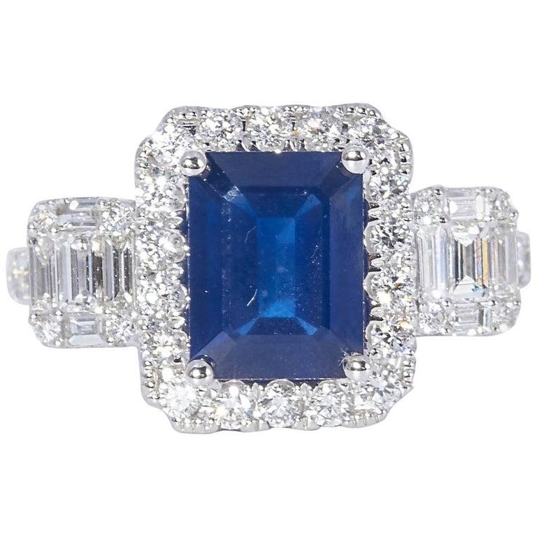 HARBOR D. Diamond Sapphire Cocktail Engagement Ring 3.31 Carats For Sale