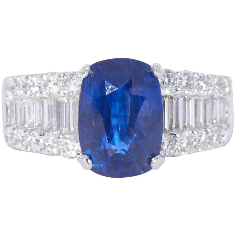 Diamond and Oval Sapphire 4.53 Carat Engagement Ring