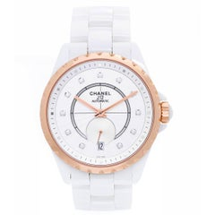 Chanel Ladies Rose gold Bezel White Ceramic J12 Automatic Wristwatch Ref H4359
