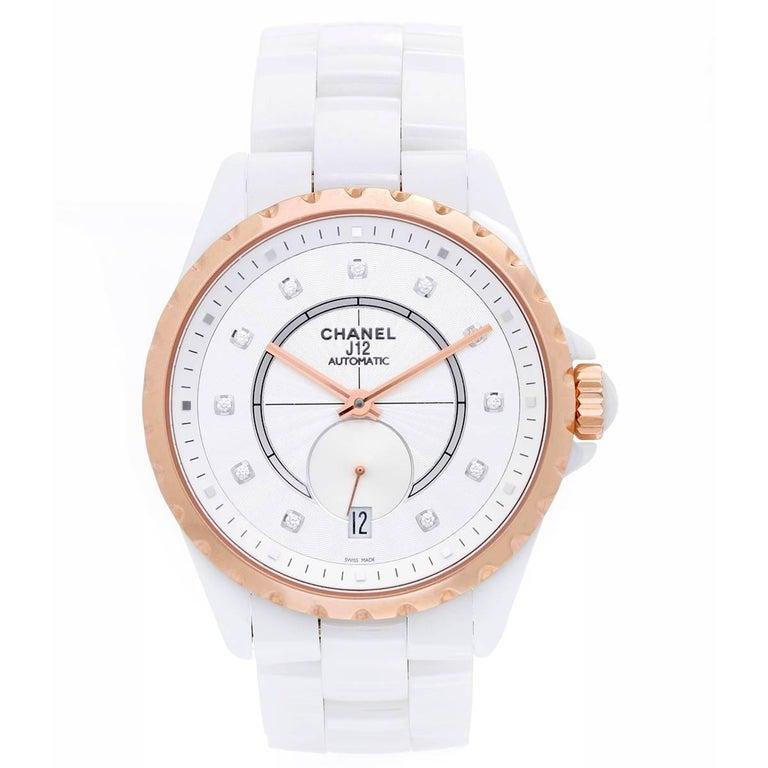 Chanel Ladies Rose gold Bezel White Ceramic J12 Automatic Wristwatch Ref H4359