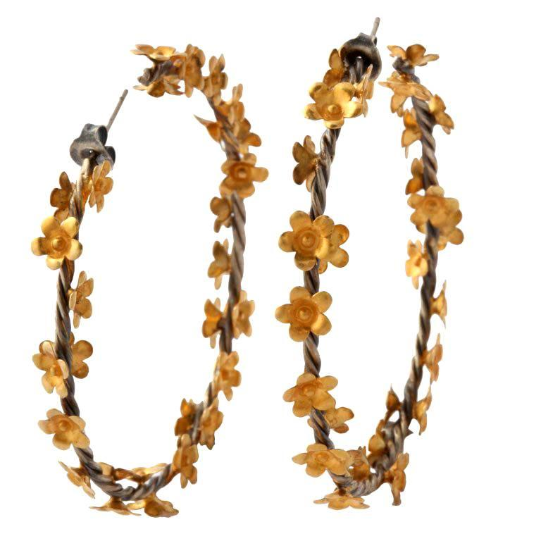 Gold Silver Floral Vine Hoop Earrings