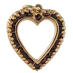 Garnet Gold Heart Charm