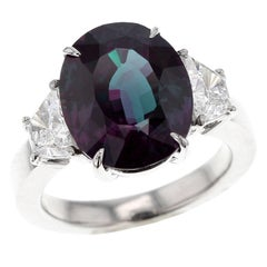 Magnificent 8 Carat Classic Brazil Alexandrite and Diamond Three-Stone Ring