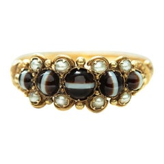 Mid-Victorian Banded Agate and Pearl Ring